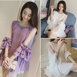 Wholesale Loose Chiffon Girl - Spring Plus Size Asymmetrical Dress For Women Girls Cuffs Mesh Chiffon Pleated Dress Tiered Loose Dresses Pink White Color Short Skirt Gift