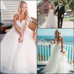 Elegant Bohemian Wedding Dresses Sweetheart with Spaghetti Straps A Line Ruffles Tulle Summer Beach Bridal Gowns Cheap Custom