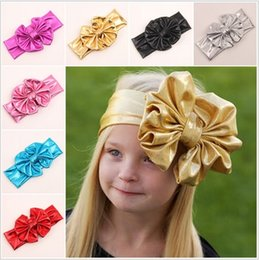 Wholesale Korean Girl Brown Hair - 2015 Fashion Faux Leather Children Hair Accessories Bow Baby Headbands 7 Colors Korean Style Girls Headbands Bowknot Kids Accessories M705