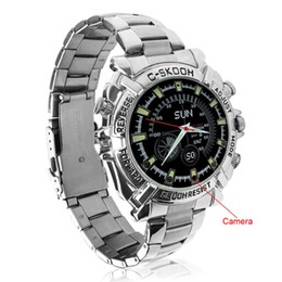 Wholesale Stainless Steel Spy Camera Watch - 1080P IR Night Vision Waterproof Spy Watch Camera 8GB Watch DVR hidden pinhole camera stainless steel watch strap W2000