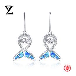 2016 New Fashion Dancing CZ Diamond Earrings Blue Fire Opal Earrings Jewelry Gold plated Rhinestone Opal Silver Long Dangle Earing for Women