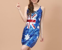 Wholesale Christmas Evening Party Show performance Sexy Costumes Dance UK Flag Printing Sequin Lady Dress Women Fashion Night Club Bodycon Dresses
