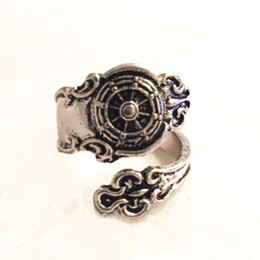 Free shipping Ship Wheel Spoon Ring - ancient Silver Nautical Ships Ring Steam punk Finger or Thumb ring