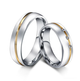 5 pairs per Lot Gold Plating Couples Rings 316 Stainless Steel Rings High Polish CR-056