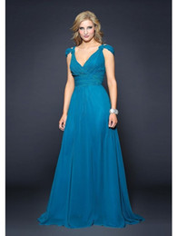 Wholesale 2017 Trend Off The Shoulder Sexy V Neck Ruched Chiffon Blue Evening Gowns Plus Size By Los Angeles Fashion Designer At Low Prices Guaranteed