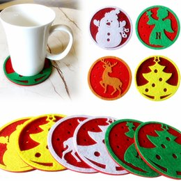 Wholesale 2017 New Christmas table water cup coaster coffee cup pad pads pad insulation Christmas decorative items