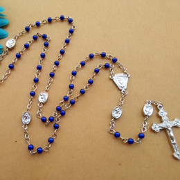 New Fashion Religious Jewelry Accessories Blue 4 mm Small Beads Blue CCB Cross Rosary Necklace Wholesale
