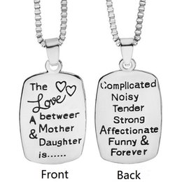 The Love Between Mother And Daughter Engraved Pendant Necklace Square Box Chain Statement Necklaces Fashion jewelry for women Mom girls