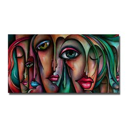 Wholesale Sex Photos Girls - Hand paint abstract faces nude girls sex picture oil painting modern home decorof nude photo women and anmal