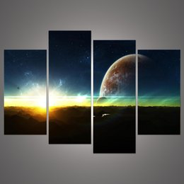 4 Panel Modern Sunrise Space Universe Picture Painting Cuadros Wall Decor Canvas Art Home Decor For Living Room h 052
