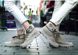 Hombres Mujeres Militar Desert Zapatos Pareja Alto-Top Zapatos de lona Palladium Tobillo Botas al aire libre Senderismo zapatos Ocio Cowboy Motocicleta Tobillo Boot desde bota militar fabricantes