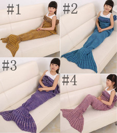 Handmade 140*70 Mermaid Tail Blanket Knitted Crochet Soft Warm Swaddle Kids Fish Tail Sofa Blankets Sleeping Bag For Children Adults