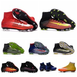 Wholesale Kids Mens CR7 Superfly Cleats Football Boots Mercurial Superfly V FG Soccer Shoes Boys Soccer Cleats Women Soccer Boots Youth Superflys