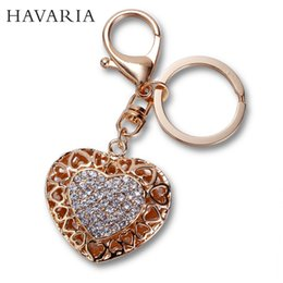Wholesale Fine Fashion Keychains Rhinestone Car Keychains Romantic Gifts Carabiner Keychains for Women Girls Zinc Alloy Metal Key Rings ax
