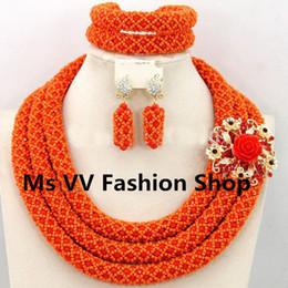 orange with brooch flower Wedding Jewelry Sets Luxury Crystal Necklaces Bracelet Earrings African Nigerian Wedding Beads Jewelry Set