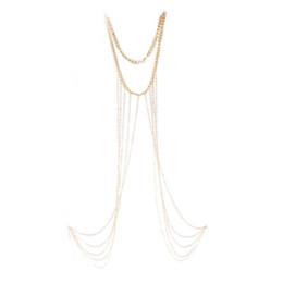 Las mujeres atractivas de oro en venta-El cuerpo atractivo de la borla del collar del arnés de la playa del bikiní de la cadena de la cintura del vientre del cuerpo del oro de la manera de las mujeres encadena la joyería para las mujeres libera la nave