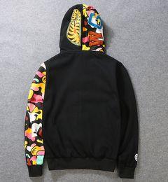 Wholesale 2016 Cool Cartoon Sweatshirts For Men Women Black Gray Shark Hoodie Coat WGM Full Zip Hoodie Fleece Cardigan Sweatshirt