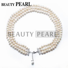Freshwater Cultured White Pearl 3-Strand Necklace 7-8mm Potato Pearls 17 Inch Bridal Wedding Anniversary Necklace Women Jewelry