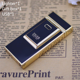 Wholesale-Free shipping Tiger lighter windproof ultra-thin metal pulse charge usb lighter electronic cigarette lighter