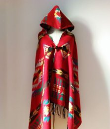 Wholesale Scarfs For Women Hood - 3pcs lot 2016 autumn winter fashion national scarf and thicken with hood hooded Bohemia wind cloak shawl for women 135-175CM