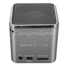 MD07U Sliver USB Mini Portable FM Music Sound Box Player Digital Speaker Amplifier Reader For iPad For iPod For iPhone GPS