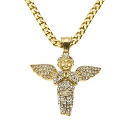 """New Design Stainless Steel Gold Iced Out Bling Mini Baby Angel Piece Wings Pendant 24"""" 27.5"""" Miami Cuban Chain Necklace"""