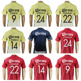 Wholesale 16 Mexico Club America Jersey Soccer M layun J molina Custom Football Shirt Thailand Player Version O martinez P aguilar