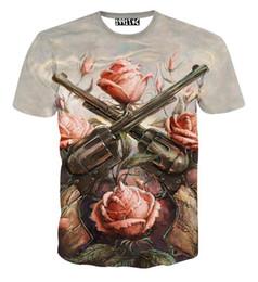 2018 fashion women men short sleeve 3d t shirt funny print Rose flower 2 Gun T-shirt summer novelty tee shirts clothes camisetas