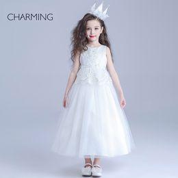 Wholesale glitz beauty pageants designer dresses for kids White round neck Belt decoration long section Crepe fabrics Bubble Skirt