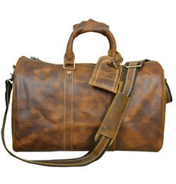 style occidental cru sac à main en cuir fou sac lage Voyage en cuir de cheval grand polochon Voyage de vachette fourre-tout en cuir de vache Brown à partir de sacs polochons marron fabricateur