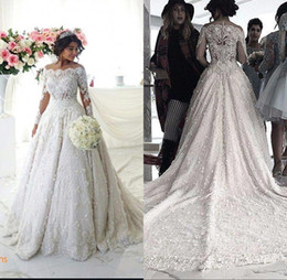 2016 Vintage Ball Gown Wedding Dresses Off Shoulder Long Sleeves Arabic Muslim Islamic Wedding Gowns Lace Appliques Bridal Dress