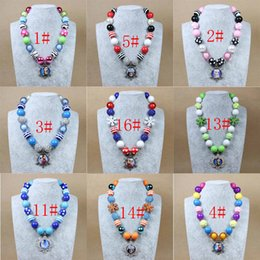 Wholesale Frozen Beaded Necklaces Bubblegum Pendants Fashion Princess Elsa Anna Children Baby Girl Party Girls Jewelry Accessories hot