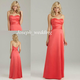 Wholesale For Sale Simple A Line Sweetheart A lIne Satin Cheap Salmon Coral Color Long Backless Bridesmaids Dresses BD229