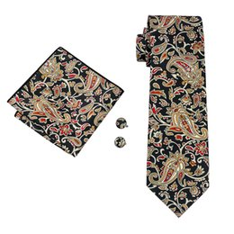 New Style Mens Printed Ties Yellow Flower Pattern Floral Black Business Wedding Silk Tie Set Include Tie Cufflinks Hankerchief N-1254