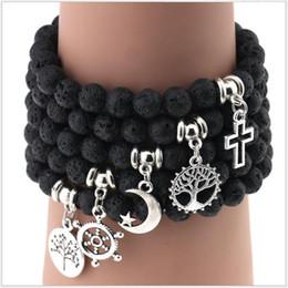 Wholesale 30pcs Made with Love Lava Stone Diffuser Jewelry Natural Volcanic Rock Charm Bracelets Prayer Beads Bracelet