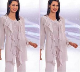 New Mother of the bride pant suits Hot Sale Elegant Chiffon pleat long Sleeves Sequins Mother Of the Bride