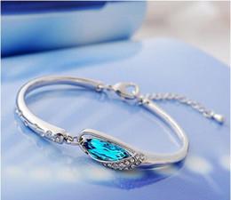 Promotion Fashion Elegant 925 Sterling Silver Bracelet Women Elegant Sapphire Crystal Bracelets Fine Jewelry Gift box High quality Bracelet