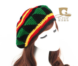 Knitted Jamaica Hats Rasta Reggae Slouchy Beanie Colorful Striped Beret Crochet Gorros Hip Hop Unisex Skullies