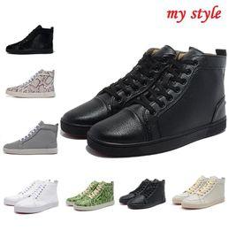 Купить Онлайн Франция человек-Размеры 35-46 Франция люксовый бренд кожа женщин Подлинная кроссовки высокие верхние тренеров красные нижние ботинки для мужчин Chaussures роковые Hommes