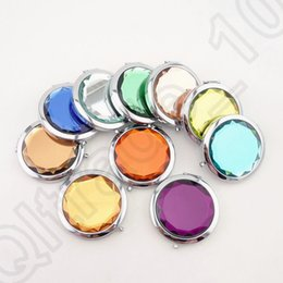 Wholesale LJJM215 Metal Pocket Mirror Makeup Fold Round Crystal Compact Mirror Portable Cute Metal Double Side Mirror Wedding Gifts Color