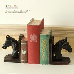 Wholesale A set of two Quality fashion vintage horse s head book end bookend noble style home accessories decoration