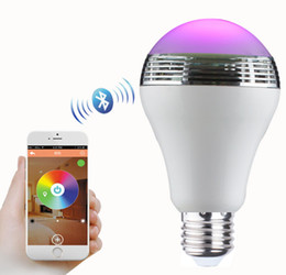 Wholesale 2016 Creative LED Smart Phone AA Control Bulb Speaker Multifunctional Color Changeable LED Ball Bulb Phone APP Control Bluetooth Speaker