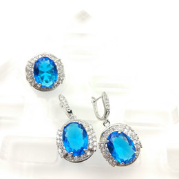 Wholesale Charming Jewelry Sets Sterling Silver For Women Silver Hoop Sky Blue Earrings Necklace Pendant Rings Free Jewelry Box C
