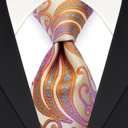 F29 Silver Orange Yellow Pink Multicolor Pattern Mens Ties Necktie 100% Jacquard Woven Silk Wholesale Free Shipping