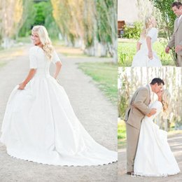 Plus Size Wedding Dresses With Sleeves Lace Vintage Wedding Gowns Court Train Satin Chiffon Ruffles Bridal Gowns
