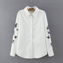 Europe and the United States foreign high quality big wind loose big yard Butterfly Embroidery white shirt blouse