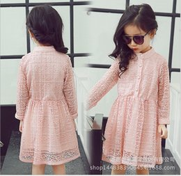 Good Quality Girls Princess Dress 2018 Spring Girl Long Sleeve Lace Gauze Dresses Kids Clothing Children Lace Stitching Hollow Out Dress
