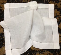"HomeTextiles American StyleTable Napkins 12pcs lot Best Quality Elegant White Hemstitched Linen Table Napkin 22x22""dress up any dinner party"