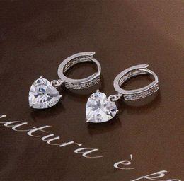 Wholesale Charm Women s Gems Hoop Earring with Heart Charm k white gold color earrings punk gem art