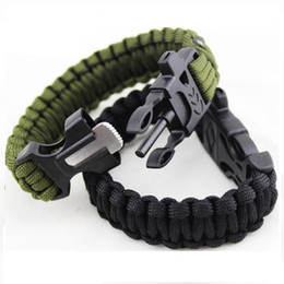 Wholesale Survival Bracelet Whistle Buckles - Outdoor Survival Bracelets Flint Fire Starter Whistle Gear Buckle Camping Ignition Equipment Resure Rope Escape Bracelet Kit DHL Free